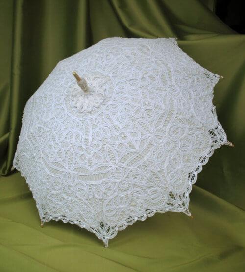 White Battenburg Parasol