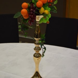 Gold Candlestick Fruit Basket