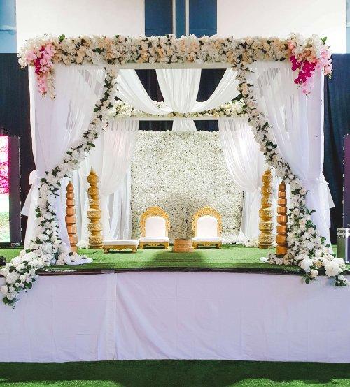 floral mandap white draping