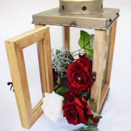wood lantern with flowers