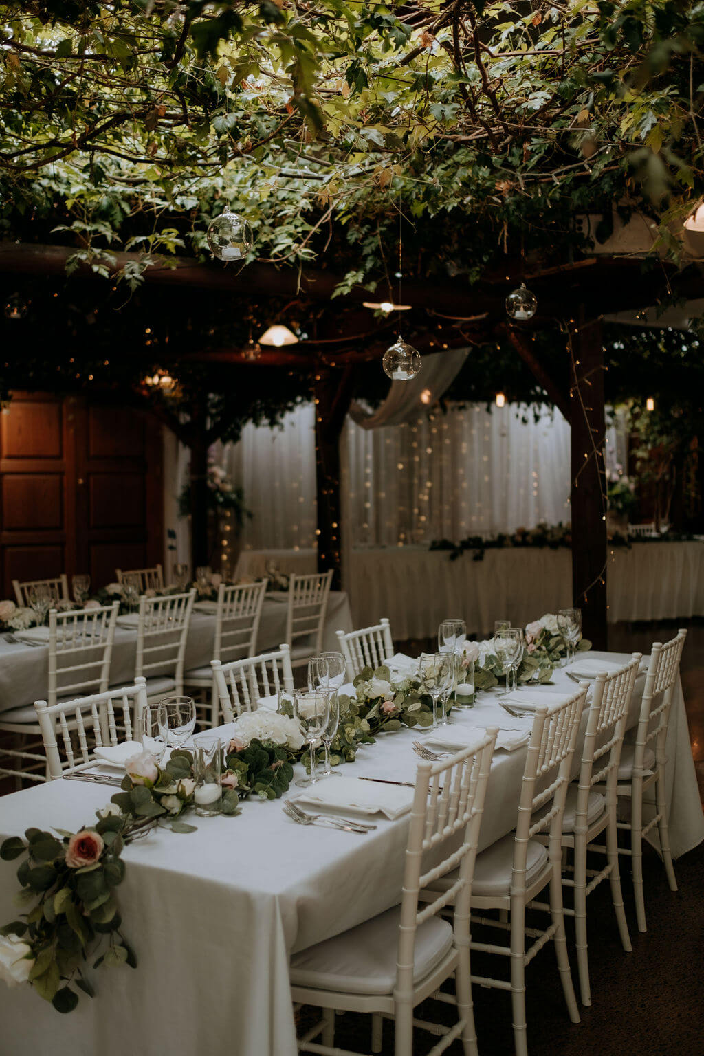 Markovina Vineyard Wedding Reception - white tables and chairs