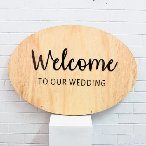 welcome to our wedding oval sign