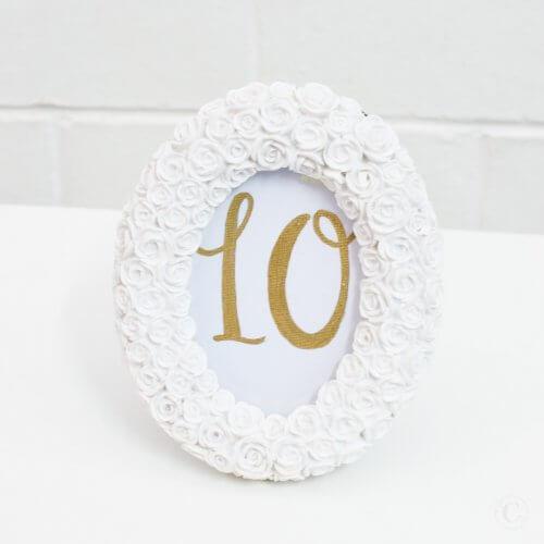 oval rose table number frame