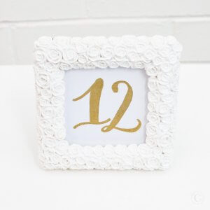 square rose table number frame