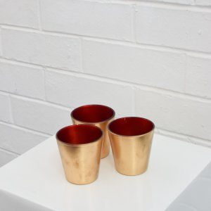 Gold & red tealight candle holder