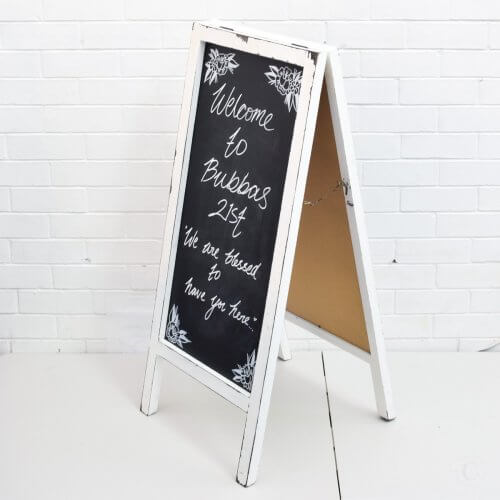 White A Frame Chalk Board