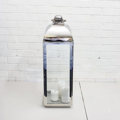 large silver metal lantern