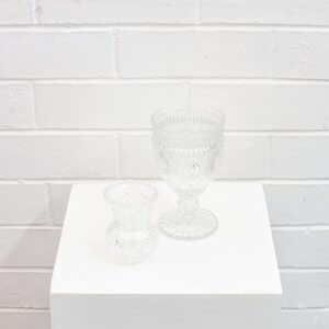 crystal bud vase and parisian goblet