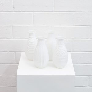 glass white bud vases