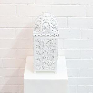 white moroccan lantern large