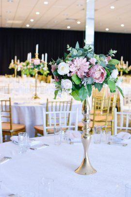 Gold Candlestick centrepiece with Florals