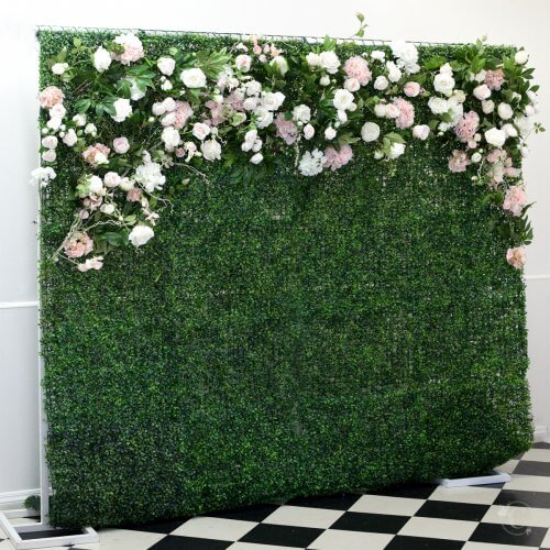 pink and white floral green wall